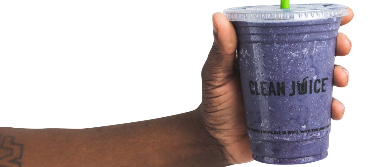 Clean Juice; arm and hand holding a cup of clean juice product