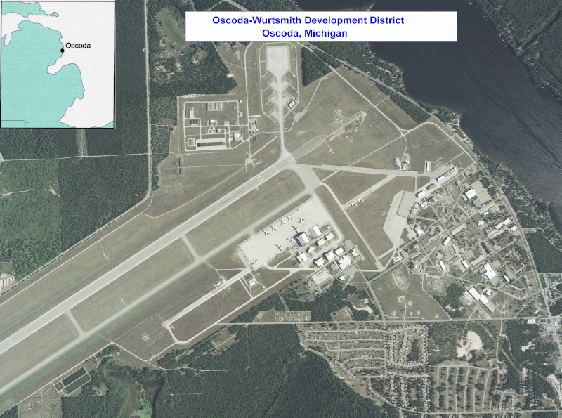 Oscoda-Wurtsmith Airport OWA aerial view with a map overlay