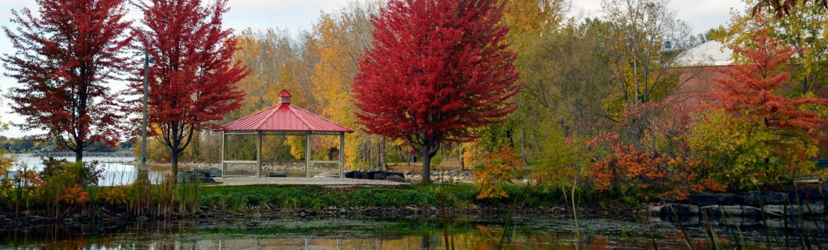 Belleville, Ontario park during the fall with a gazebo