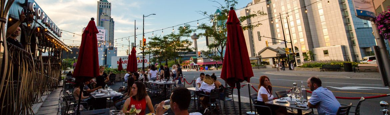 Niagara Falls, Ontario Copacabana Outdoor Patio street view.