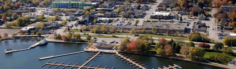 Orillia Ontario Aerial Waterfront view.