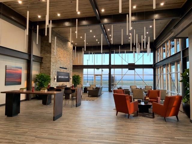 Rocky Mountain Airport KBJC Sheltair FBO interior view.