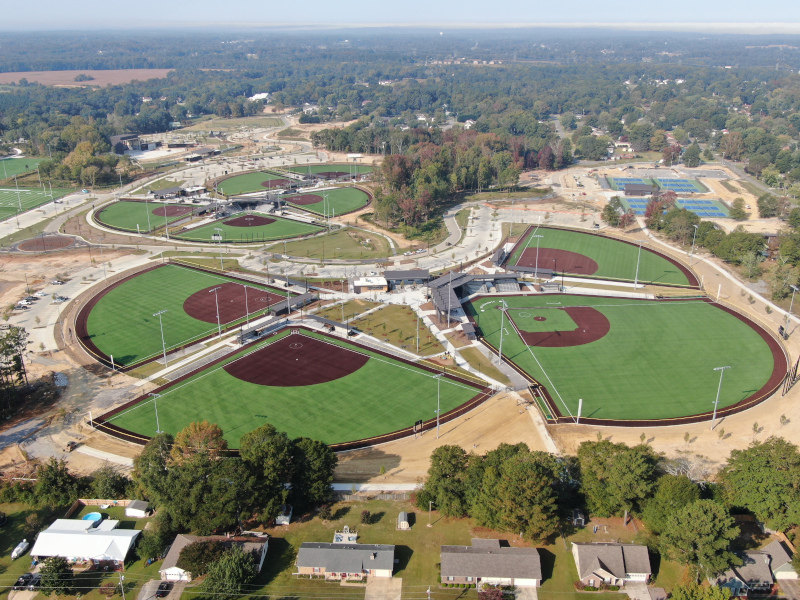 Albertville, Alabama aerial view baseball fields.