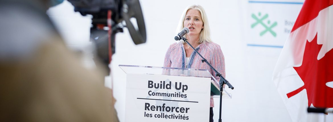 Minister of Infrastructure and Communities Catherine McKenna makes an announcement about flexibilities for the Investing in Canada Infrastructure Plan, at the Boys and Girls Club of Ottawa, Ontario, on Wednesday, August 5th, 2020.