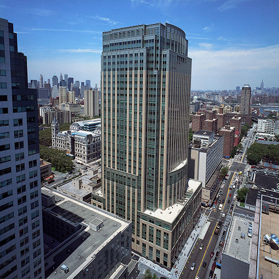 Owen Steel Company aerial view of 330 Jay Street sky scraper building completed