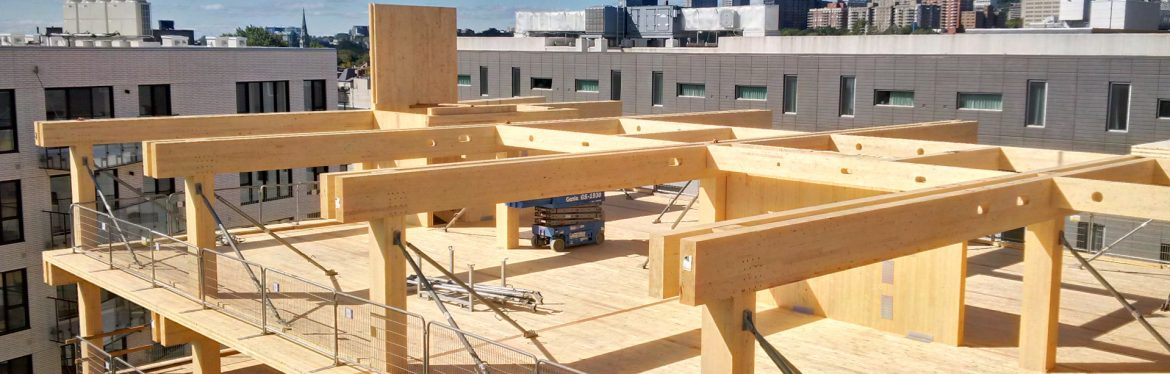 FPInnovations building example showing wood timber frame at a construction site.