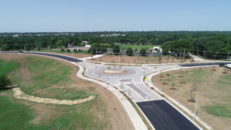 Linaweaver road construction aerial roundabout