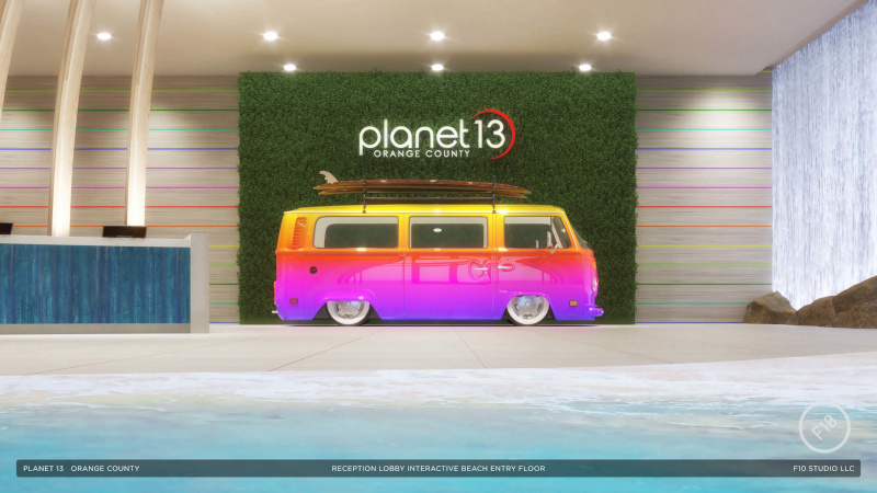 Planet 13 Holdings Inc. Santa Ana interior multi colored rainbow bus