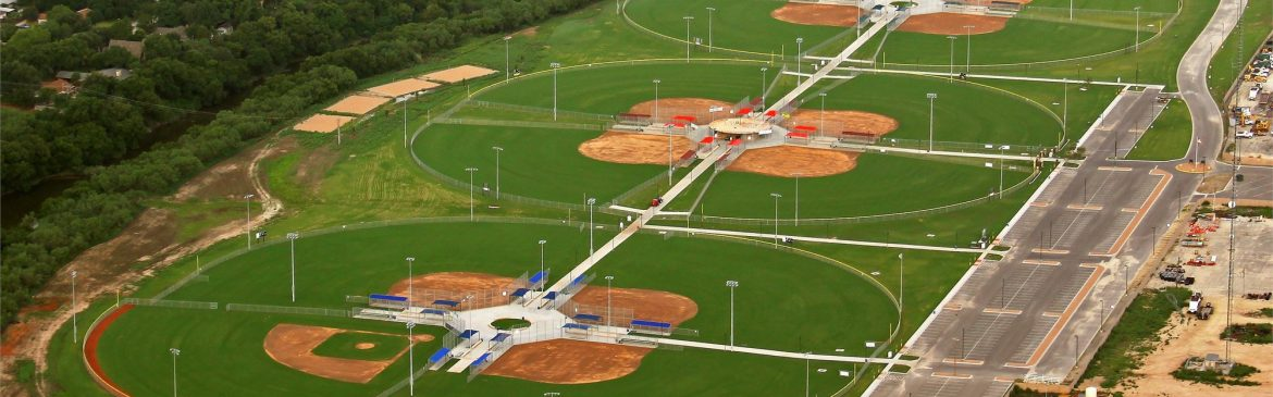 San Angelo, Texas Texas Bank Sports Complex aerial view of fields