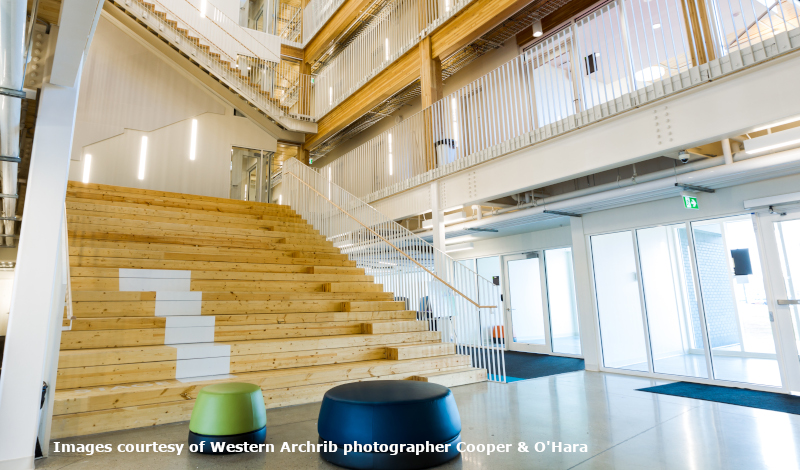 Canadian Wood Council example of wood stairs courtesy of Western Archrib Photographer, Cooper & O'Hara