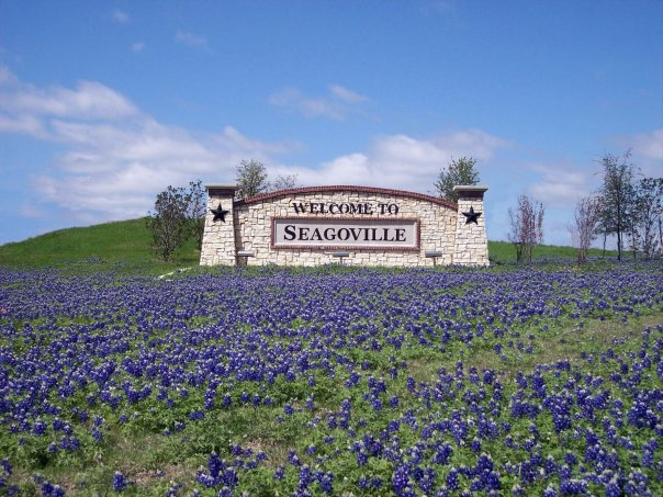 Seagoville, Texas welcome sign with flowers around