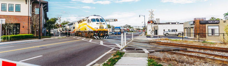 Florida Department of Transportation FDOT train at a crossing