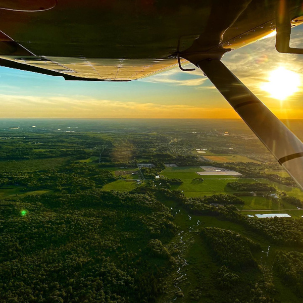 Wausau Downtown Airport plane viewing countryside near sunset
