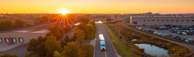 Cottage Grove, Minnesota sunset semi truck on the road