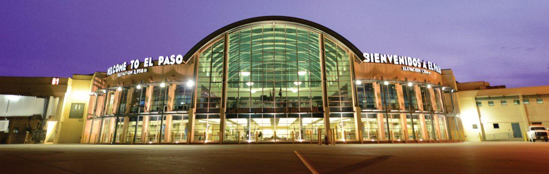 El Paso International Airport terminal back lit near dusk.